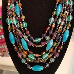 Aqua, purple, amber etc statement necklace